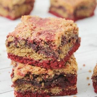 Peanut Butter Cookie Red Velvet Brownies