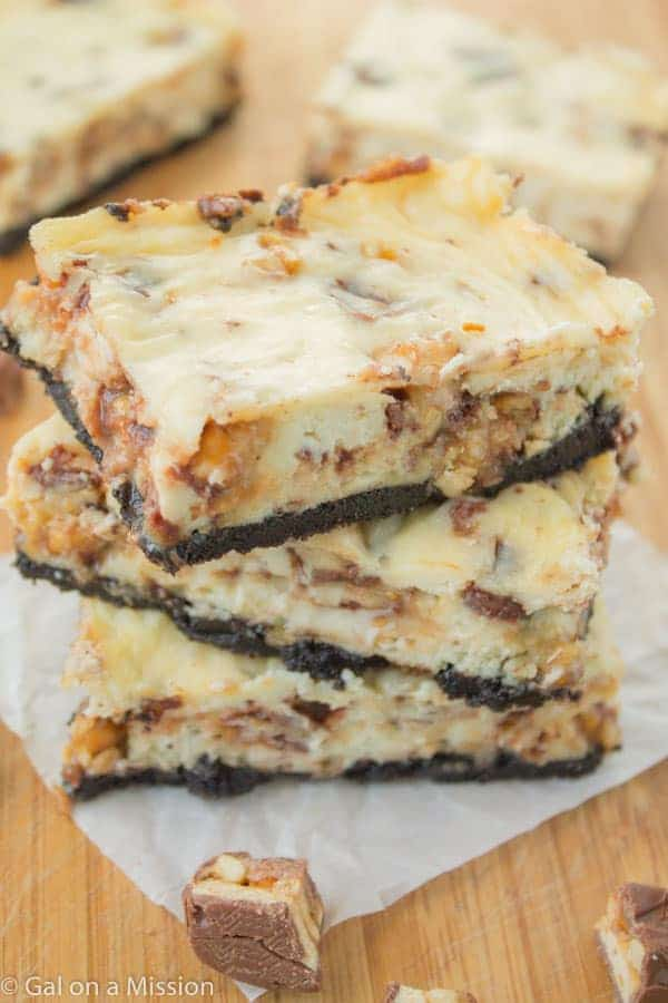 Snickers Cheesecake Bars on galonamission.com
