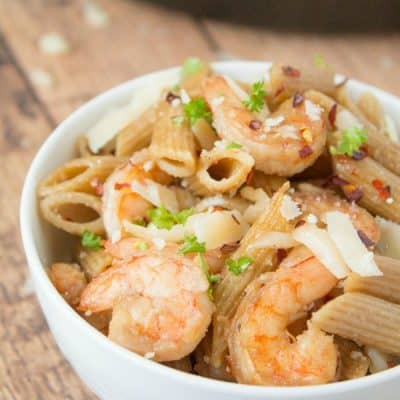 Spicy Parmesan Shrimp Pasta recipe that is ready under 30 minutes!