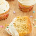 Vanilla Cupcakes with Vanilla Buttercream Frosting on galonamission.com
