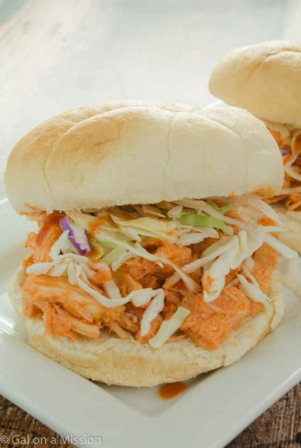 An easy and delicious Slow Cooker Buffalo Chicken Sandwich Recipe on galonamission.com