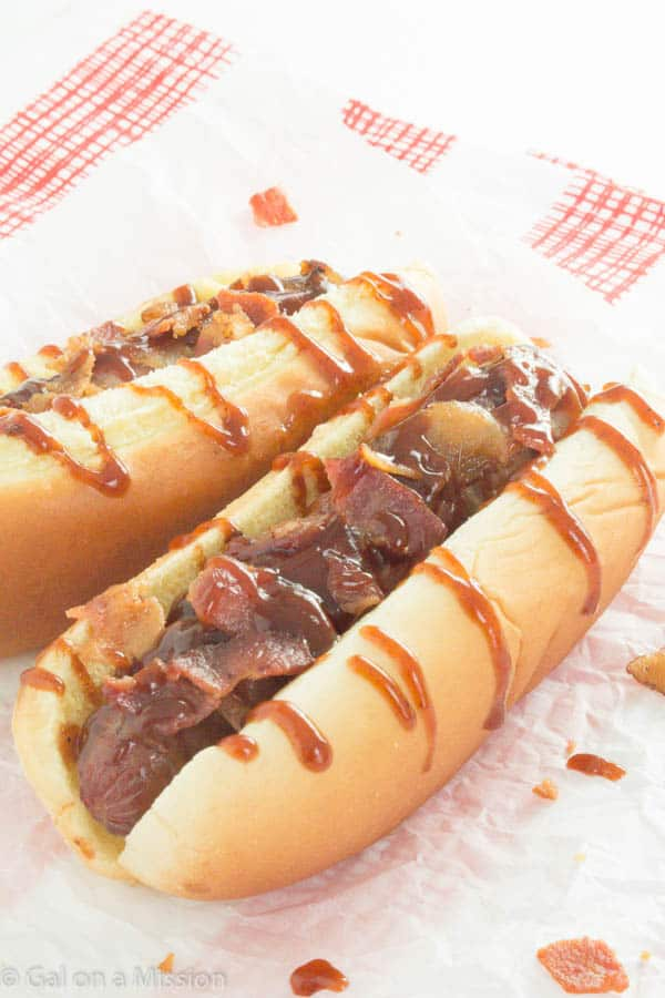 Spicy BBQ Bacon Wrapped Hot Dogs