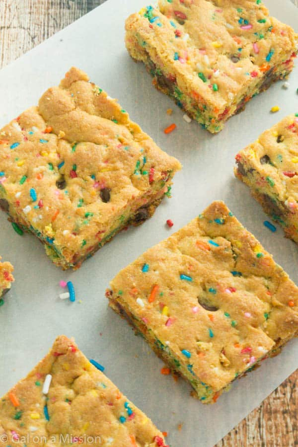 Thick and Chewy Funfetti Cake Mix Cookie Bars