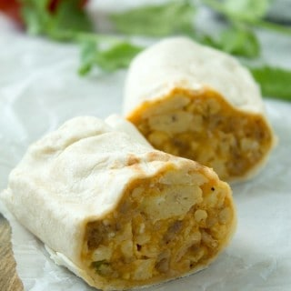 Cheesy Sausage Freezer Breakfast Burritos