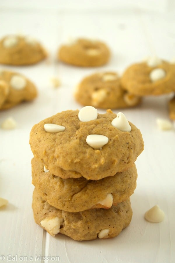 White Chocolate Chip Pumpkin Cookies from @galmission