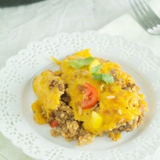 Cheesy Beefy Rice Casserole