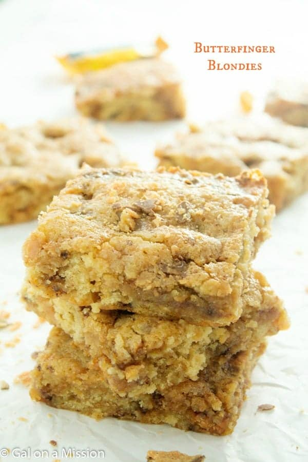 Butterfinger Blondies from Gal on a Mission featured on Belle of the Kitchen