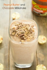 A mouthwatering peanut butter and chocolate milkshake recipe for two! It's one of our favorite snacks!