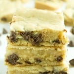 A delicious caramel chocolate chip cookie bar recipe that is filled to the max with caramel filled morsels! So easy and absolutely delicious!