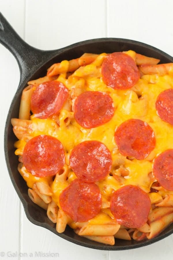 An easy and delicious pizza pasta recipe that can be customized to any taste! We love it for a quick and scrumptious meal!