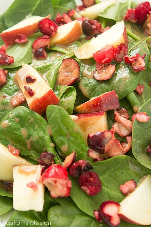 A lighter and refreshing apple-cranberry spinach salad recipe! Delicious with a creamy with a balsamic vinaigrette.