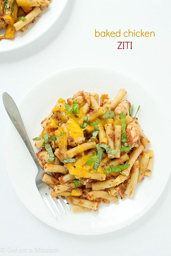 An incredible easy and delicious baked chicken ziti recipe that can be made in 30 minutes!