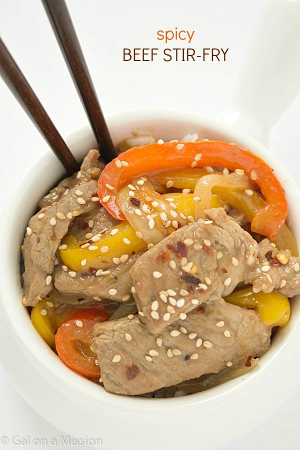 Spicy Sesame Beef Stir Fry - Gal on a Mission