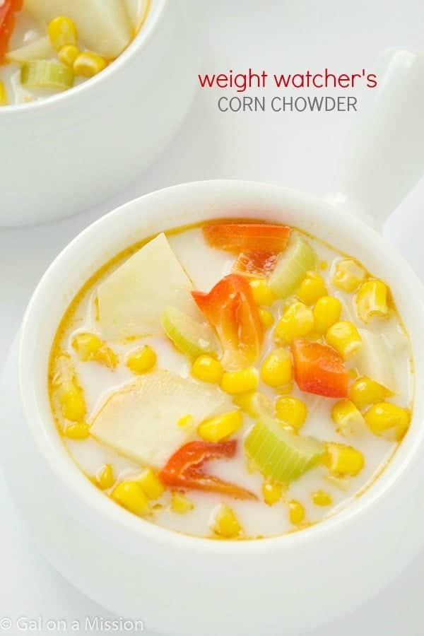 An easy and delicious weight watcher's corn chowder recipe, can be made in no-time for a quick dinner option! A family favorite during the winter.