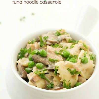 "Skinny Tuna Noodle Casserole: Flavorful tuna packed with delicious flavors; including mushrooms, peas, a homemade ""condensed soup"", skinny options, and a unique Mediterranean twist!"