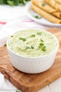 Creamy Avocado Dip: A fun and unique spin on your traditional dips! Can be used with your favorite recipes: tacos, taquitos, fajitas, etc.! The whole family will love it.