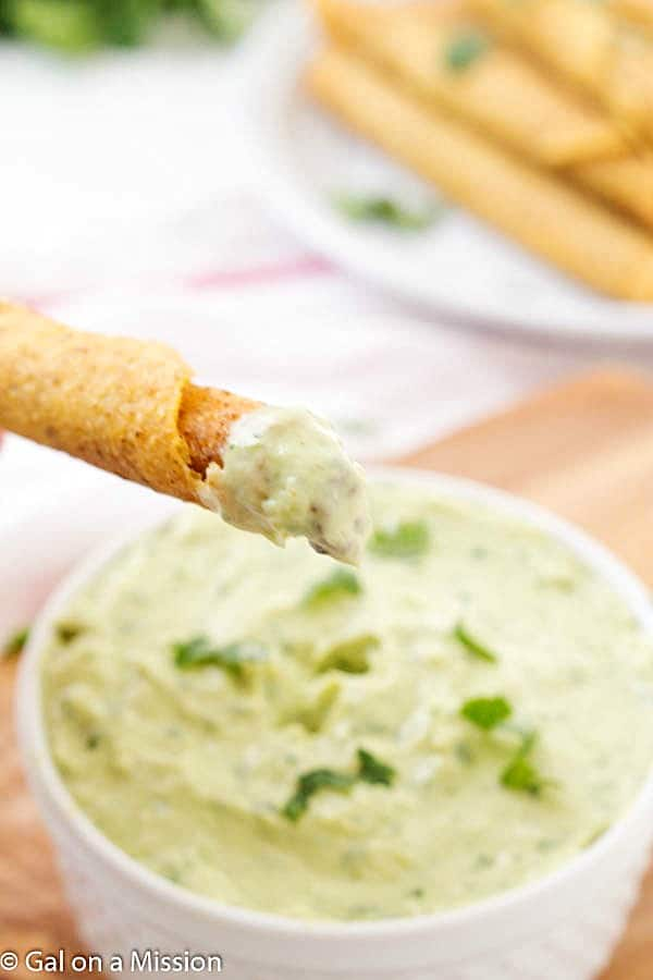 Creamy Avocado Dip Recipe - A fun and unique spin on your traditional appetizer dips! Not only is it delicious, but it's a little healthier with greek yogurt! My favorite avocado dipping sauce. Enjoy with your favorite recipes: tacos, tacquitos, taco salad or even as a dip!