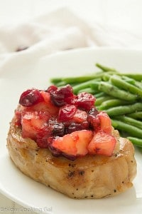 slow cooker apple-cranberry pork chop