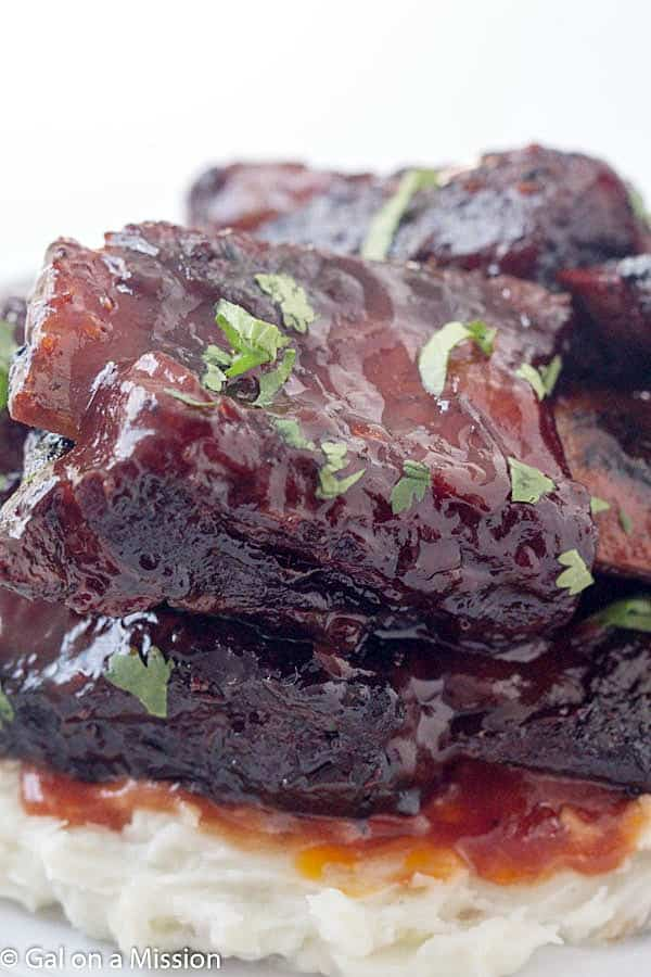 Baked barbecue beef short ribs gal on a mission for Bbq boneless short ribs