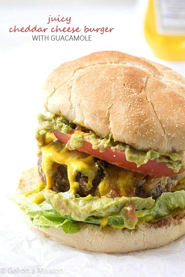 Juicy Cheddar Cheese Burger with Guacamole – The Ultimate basic ...
