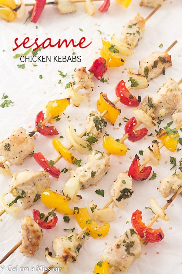 Sesame Chicken Kebabs - Perfect as a sesame chicken recipe by themselves or on a kebab stick! The chicken kebab marinade is out-of-this-world easy and delicious! Marinate for a full 24 hours to achieve maximum flavor throughout the chicken. Great kebab ideas for everyone to enjoy!