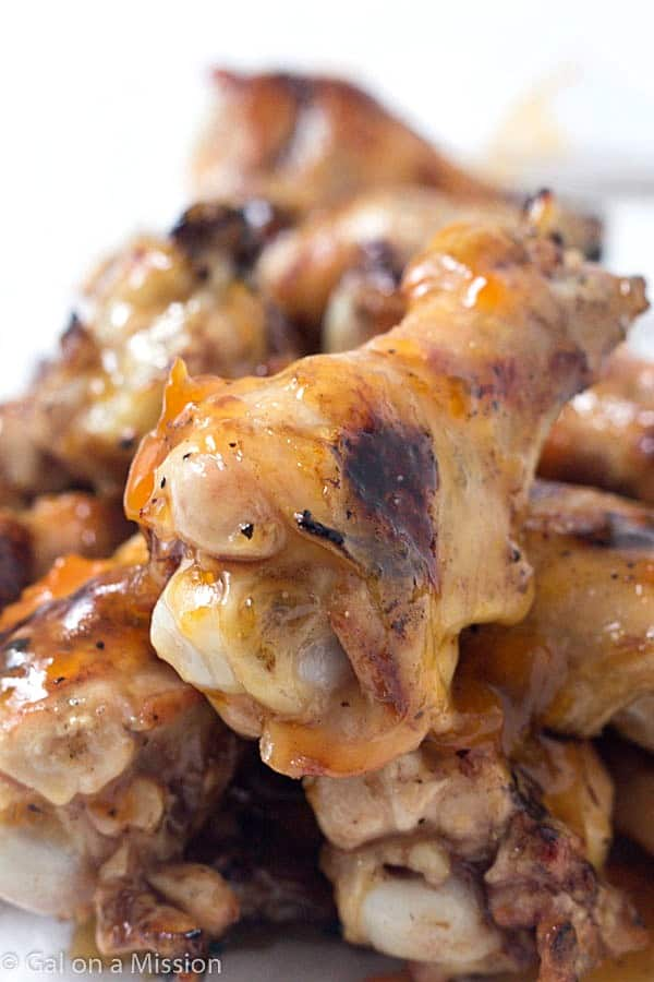 Apricot Glazed Chicken Wings - Grilled to perfection and glazed! Some will say these wings are finger licking good!