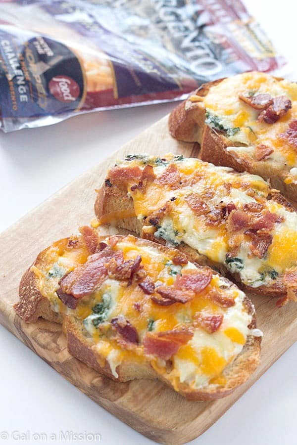 Cheesy Bacon, Kale, Artichoke Crostini - Perfect for a delicious appetizer for your next party or enjoy as a main dish!