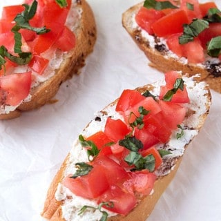 Tomato and Basil Crostini with Whipped Feta