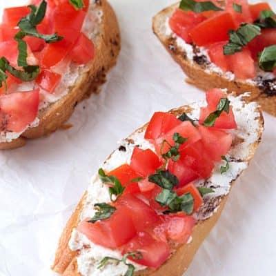 Tomato and Basil Crostini with Whipped Feta