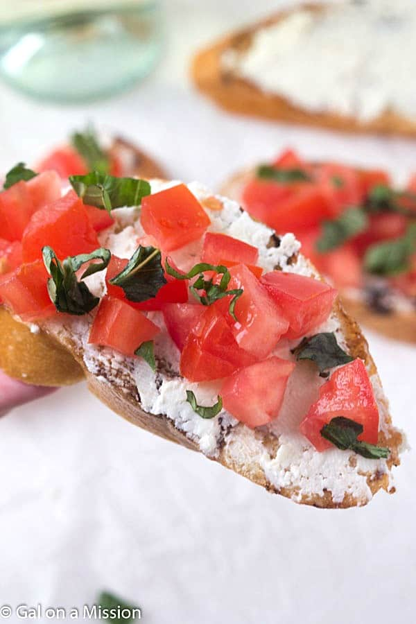 Tomato and Basil Crostini with Whipped Feta - Crunchy crostini with ...