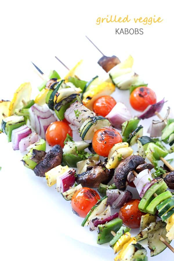 Grilled Vegetable Kabobs - If you love kabobs on the grill, then these are for you! Perfect side dish to any meal, especially a steak! Grilled vegetables and kabob recipes are perfect during the hot summer heat!