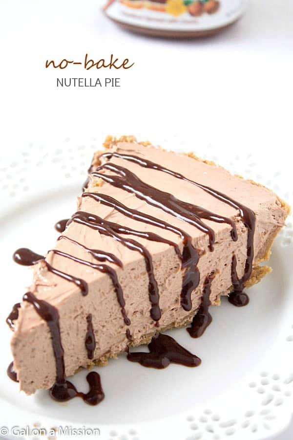 No-Bake Nutella Pie – Every part of this pie is no-bake, including the crust! So rich, creamy and decadent!