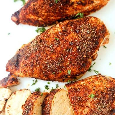 Baked Cajun Chicken Breasts - Oh, so juicy and they contain the perfect flavor. Enjoyed on sandwiches, salads, you name it!