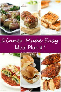 Dinner Made Easy: Meal Plan #1 - Standing in the kitchen, scratching your head, trying to decide on what to have for dinner tonight? No more. Below are 10 great recipes to make for dinner, sides to go with each meal, and a dessert recipe!