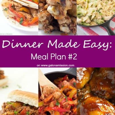 Dinner Made Easy: Meal Plan #2 - Standing in the kitchen, scratching your head, trying to decide on what to have for dinner tonight? No more. Below are 10 great recipes to make for dinner, sides to go with each meal, and a dessert recipe!