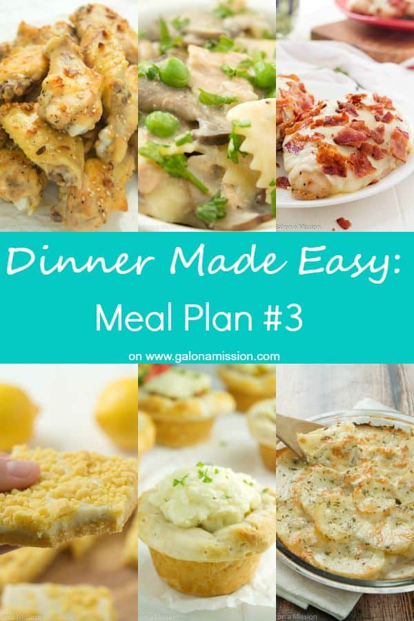 Dinner Made Easy: Meal Plan #3 – Standing in the kitchen, scratching your head, trying to decide on what to have for dinner tonight? No more. Below are 10 great recipes to make for dinner, sides to go with each meal, and a dessert recipe!