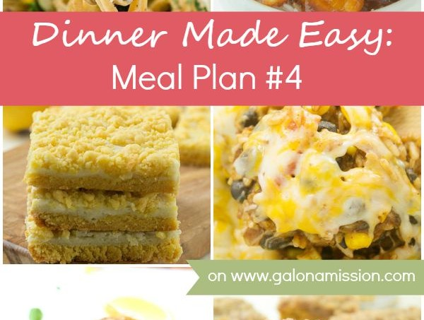 Dinner Made Easy: Meal Plan #4 – Standing in the kitchen, scratching your head, trying to decide on what to have for dinner tonight? No more. Below are 8 great recipes to make for dinner, sides to go with each meal, and a dessert recipe!