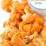 Healthy Buffalo Cauliflower Bites - These bites are addicting, spicy (to some), and surprisingly fantastic! Grab your favorite dip and let's dip in!