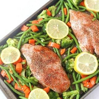 One-Pan Baked Lemon Chicken w/ Vegetables