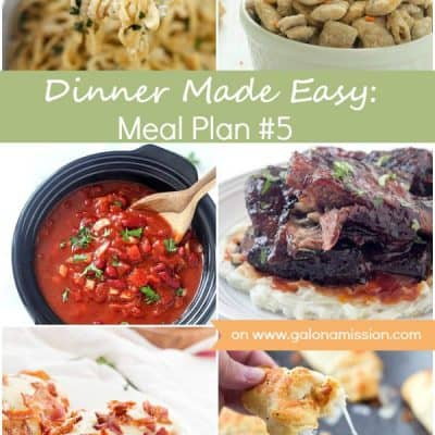 Dinner Made Easy: Meal Plan #5 - Standing in the kitchen, scratching your head, trying to decide on what to have for dinner tonight? No more. Below are 8 great recipes to make for dinner, sides to go with each meal, and a dessert recipe!