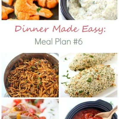 Dinner Made Easy: Meal Plan #6– Standing in the kitchen, scratching your head, trying to decide on what to have for dinner tonight? No more. Below are 11 great recipes to make for dinner, sides to go with each meal, and a dessert recipe!