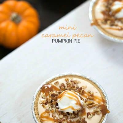 Mini Caramel Pecan Pumpkin Pie - Incredibly easy no-bake dessert made with only five ingredients!