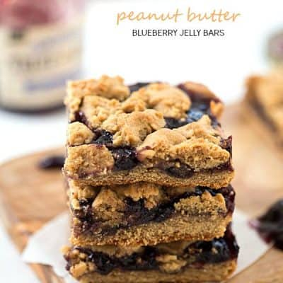 Peanut Butter and Blueberry Jelly Bars - Perfectly soft peanut butter dough base, then topped with blueberry jelly, and finished with peanut butter dough crumbled on top!