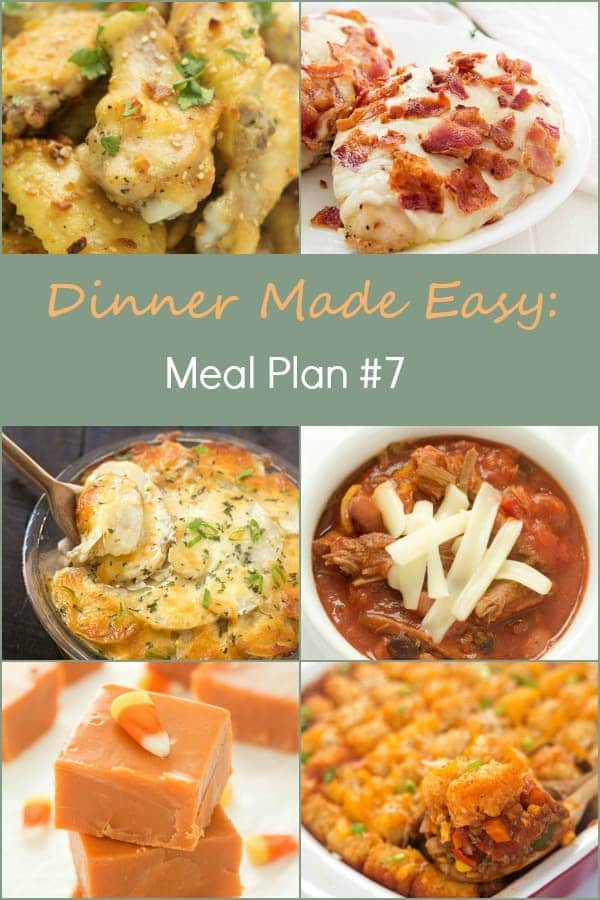 Dinner Made Easy: Meal Plan #7– Standing in the kitchen, scratching your head, trying to decide on what to have for dinner tonight? No more. Below are 6 great recipes to make for dinner, sides to go with each meal, and a dessert recipe!
