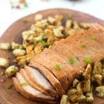 Mesquite Pork Loin with Parmesan Roasted Potatoes - A complete and easy weeknight meal the entire family will love!