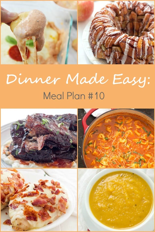 Dinner Made Easy: Meal Plan #10 - Tired of standing in front of your refrigerator, freezer, or pantry trying to decide what's for dinner? That was me until I found meal planning! I have been hooked ever since, and you will be too. It's so easy!