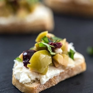 Mixed Olive and Whipped Feta Crostini