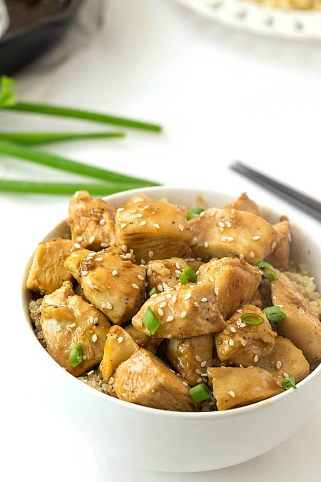 Healthy Sesame Chicken - Incredibly easy sesame chicken! Doesn't require you to coat it, bake it, or even cook it in the Crock Pot! Who knew healthy take out...fake out could be so easy?