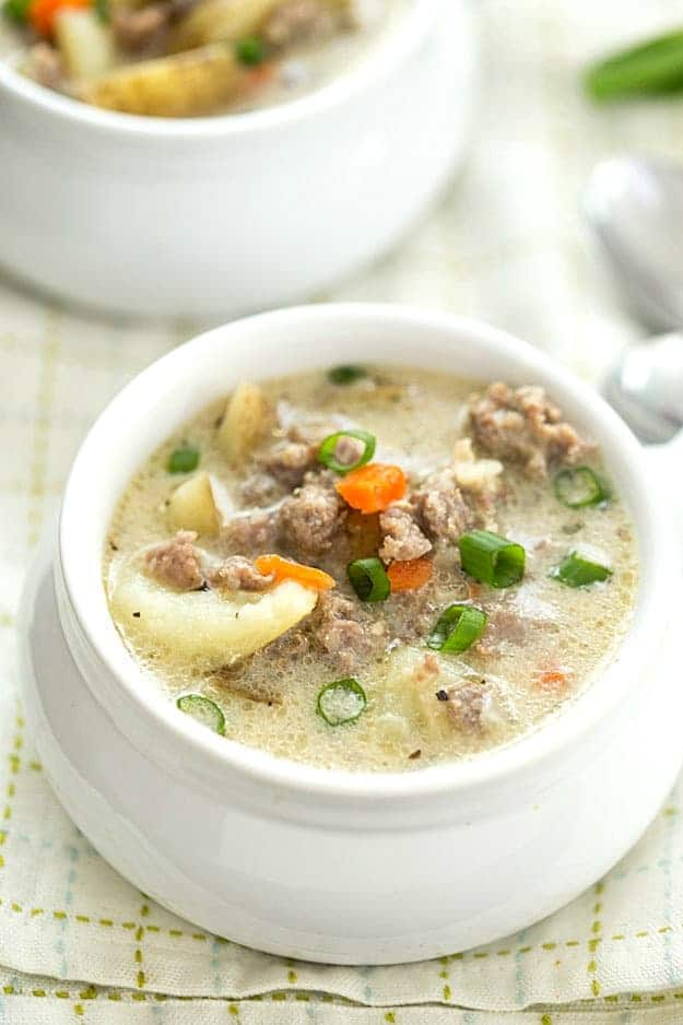 One-Pot Creamy Sausage and Potato Soup Recipe - So easy with hardly ...