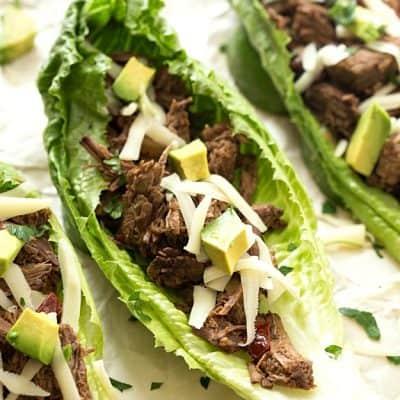 Slow Cooker Barbacoa Taco Lettuce Wraps
